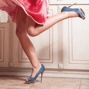 woman-legs-red-dress-blue-high-heel-shoes